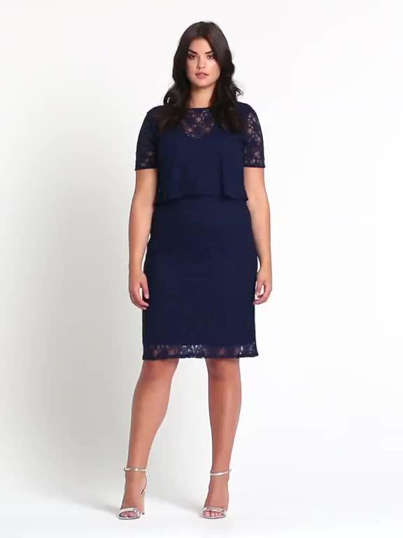 b7f1321dae4 V by Very Curve Double Layer Lace Midi Dress - Navy